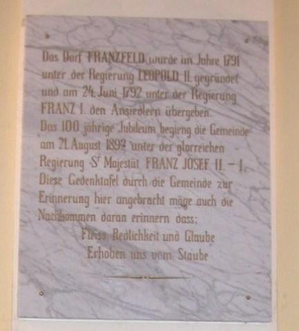 Jubiläumstafel - 100 Jahre Franzfeld